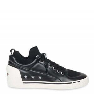 Ash-Nippy-cuir-noir-amp-Knit-pour-Femme-Baskets-Taille-UK-7-EU-40-A14502-BBK
