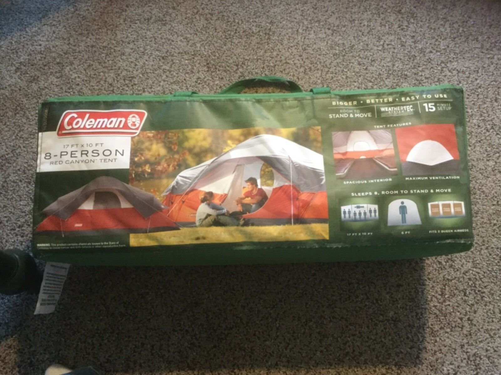 New Coleman 8-Person Red Canyon Tent.  17' x 10'.