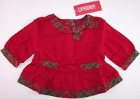 Gymboree Red With Plaid Trim Holiday Top, Mountain Cabin, 3-6m Or 6-12m