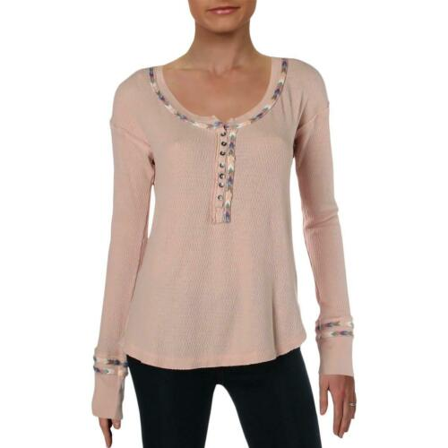 We The Free Womens Pink Contrast Trim Thermal Top Shirt Juniors L BHFO 2085