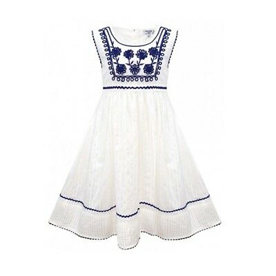 Domino Girls 100 Cotton Embroidered Scallop Lace Trim Dress 3 To 11 Years Ebay