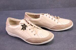 C1214-SanaVital-Damen-Comfort-Schuhe-Schnuerschuhe-Leder-beige-Gr-38-Fussbett