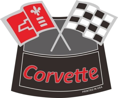 CORVETTE FLAGS CHROME AIR CLEANER DECAL Chevy Chevrolet Air Cleaner NEW RED