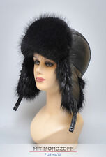 BEAVER Fur Hat Black Aviator Bomber Winter Ushanka Biber Pelzmütze Fliegermütze