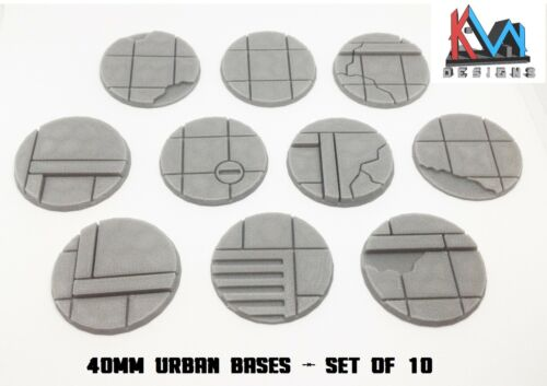 3D Printed - 40mm Scenic Urban City Street Bases - Sets of 5 & 10 Bases