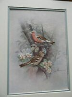 Completed ELSA WILLIAMS Colorart Cross Stitch CHAFFINCH Birds 10 X 14 - JCA New