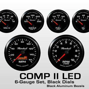 C2-6-Gauge-Set-Black-Dials-Black-Bezels-0-90-Ohm-Fuel-Level-2064BLK
