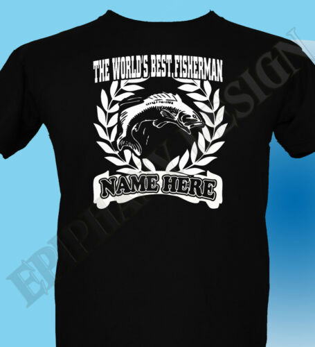 Fishing Fisherman Angler T-Shirt Men Women  Personalised Add Name Great Gift