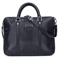 Men's Vintage Black PU Leather Handbag Messenger Shoulder Laptop Bag Briefcase