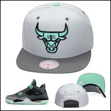 Mitchell & Ness Chicago Bulls Snapback Hat For Jordan 4 6 GREEN GLOW cement GREY