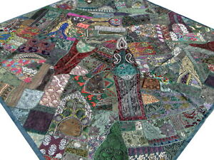 Quilt-Green-King-Indian-Patchwork-Bedspread-Handmade-Sari-Bed-cover-Boho-India