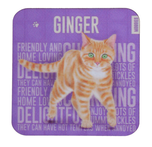 Ginger Cat Themed Design Melamine Drinks Coaster Perfect Gift