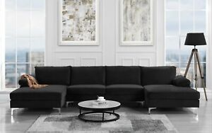 Phenomenal Details About Modern Large Velvet U Shape Sectional Sofa Double Wide Chaise Lounge Black Gmtry Best Dining Table And Chair Ideas Images Gmtryco