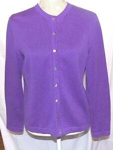 Foxcroft-Long-Sleeve-Button-Up-Sweater-Purple-Color-Size-Small-100-Cotton