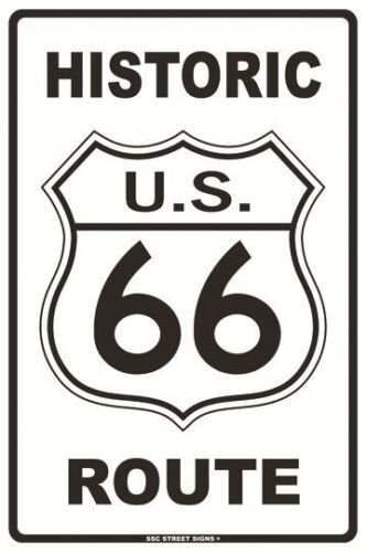 Historic Route 66 Aluminum Metal Traffic Parking Road Street Sign Wall Decor