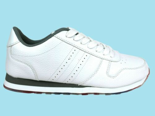 Neuf Hommes Superbe Fashion Blanc Look Poids Léger Baskets Taille UK 7-12