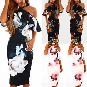 b0a285cf0185b0 Das Bild wird geladen  Damen-Blumen-Sommerkleid-Bodycon-Partykleid-Ruesche-Haeckelkleid-Kleid-