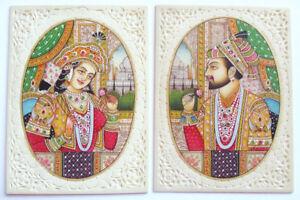 2-Gemaelde-Shah-Jahan-Mumtaz-Mahal-Miniaturmalerei-Moghulart-Lupenmalerei-Taj