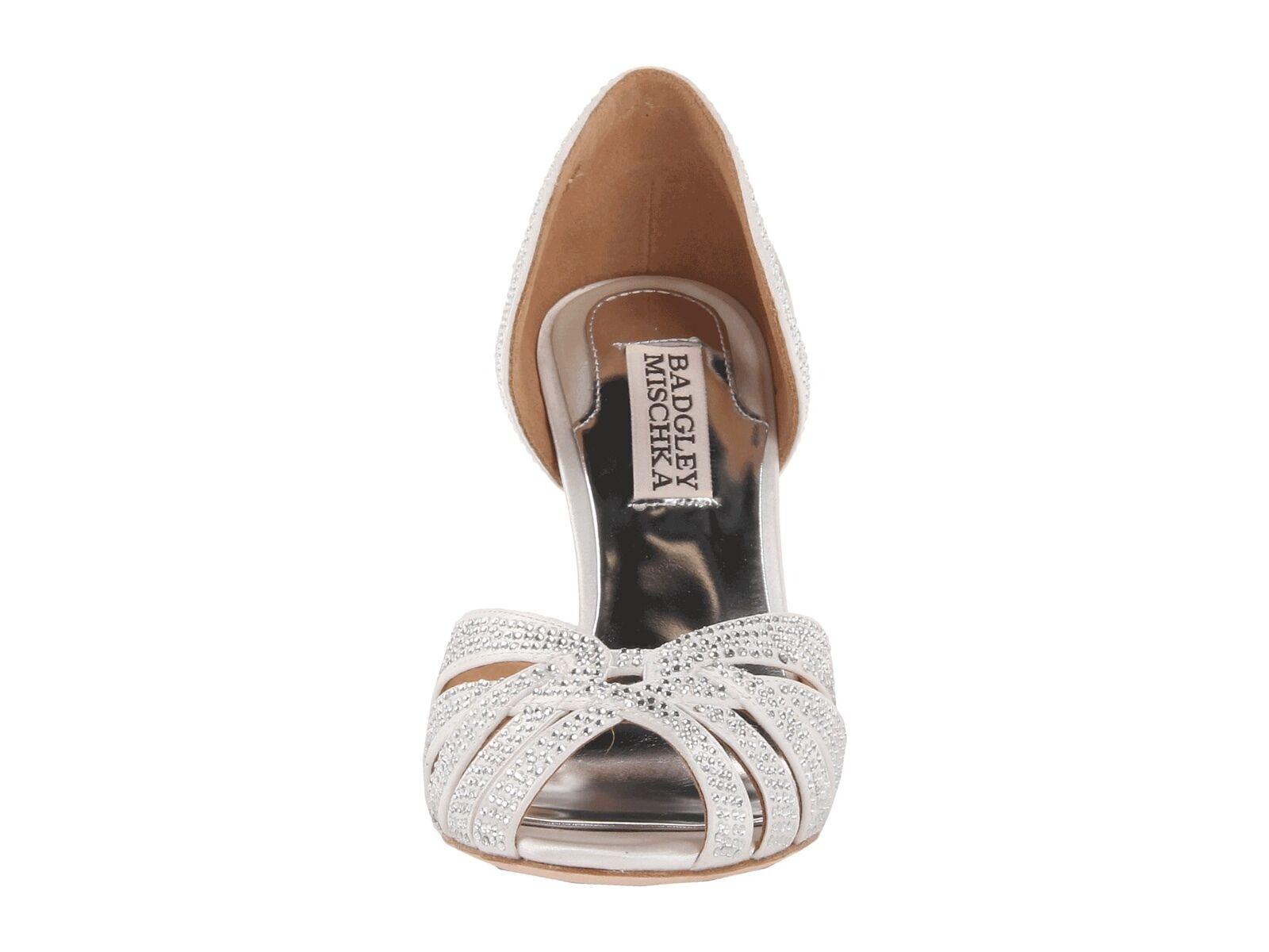 New in Box 315     Badgley Mischka Tatiana Satin Mariage Mariée Sandales Pompe Chaussures Blanc 7 f70356