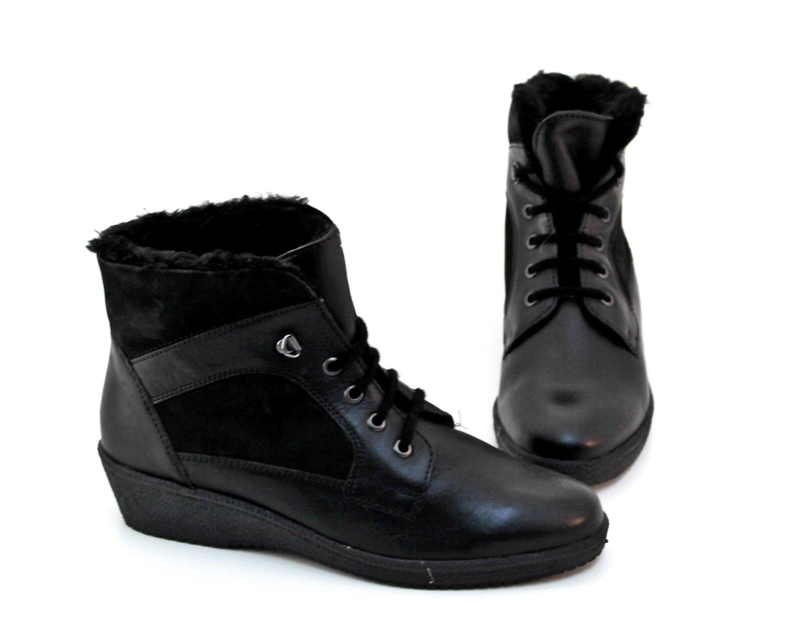 Stiefeletten Winter Stiefel Schnürverschluss Keilabsatz Echtleder schwarz Gr. 40