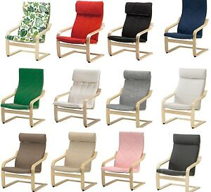 Ikea poang armchair slipcover replacement chair cushion slip cover 12 colours ebay - Red poang chair ...