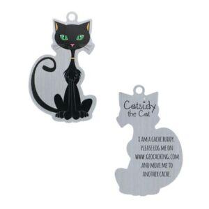 Catsidy-The-Black-Cat-Travel-Tag-Geocaching-Trackable-Travelbug-Geocoin-Tb