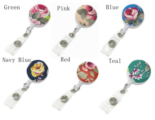 Floral Pattern Swivel Clip Durable Retractable Reel for ID Badge Holder