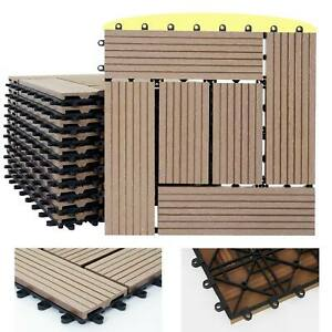 1qm WPC Holz-Fliesen Sarthe, Bodenfliesen Balkon Terrasse, teak versetzt