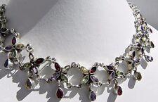Sensational, pristine! 44g sterling silver 925 multi gemstone festoon necklace