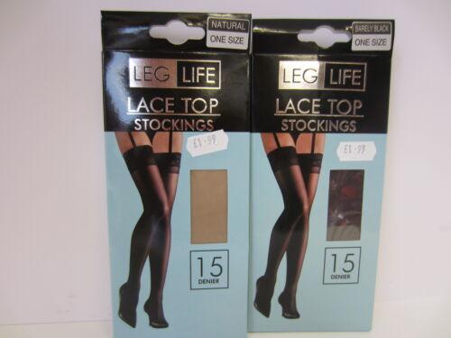 Ladies Bareley Black//Natural Lace Top Stockings