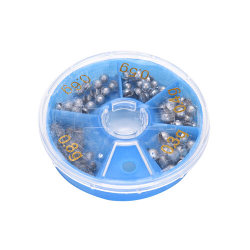 0.3g 0.8g Fishing Angling Lead Weight Split Shot Rig Sinkers Egg Bullet Box kd