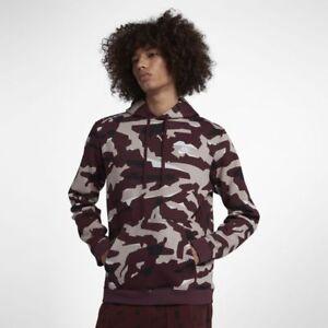 c5be1708e466 Nike Sportswear Mens Club Camo Tech Pullover Hoodie L Burgundy Red ...