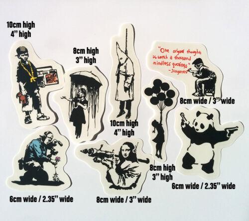 Banksy Sticker Set on Clear Vinyl Decal Pack Car Bike Street Art Graffiti Skate