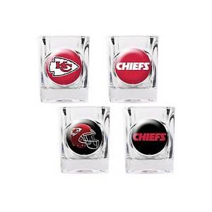12bc850a Kansas City Chiefs Shot Glass Set NFL 4 Glasses 2 oz Gift Player ...