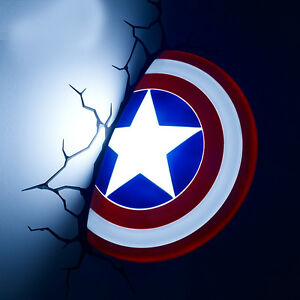 Marvel 3d fx deco led night light captain america shield wall image is loading marvel 3d fx deco led night light captain aloadofball Images