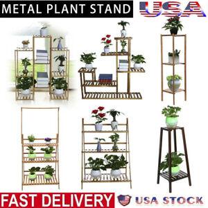 Wood-Bamboo-Metal-Shelf-Flower-Pot-Plant-Stand-Rack-Garden-Indoor-Outdoor-Fold