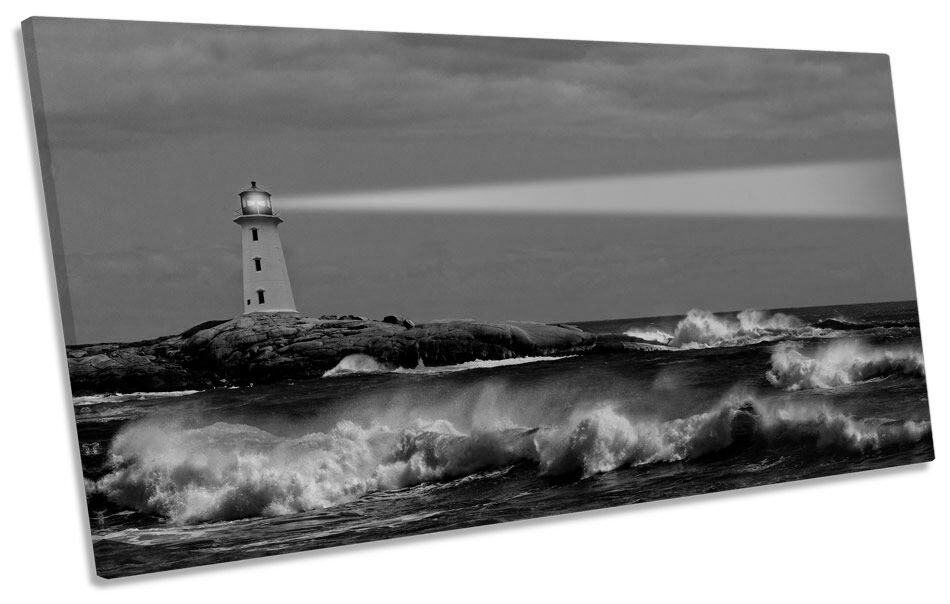 Lighthouse Sunset Seascape B&W CANVAS Kunst Drucken Panoramic Bild