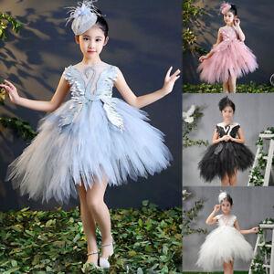 94945792a Kid Girls Tutu Ballet Dance Dress Swan Ballerina Fairy Party ...