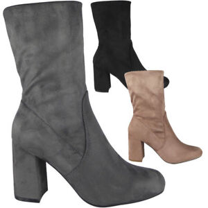 New-Ladies-Womens-Faux-Suede-Chunky-High-Block-Heel-Plain-Ankle-Boots-Shoes-Size