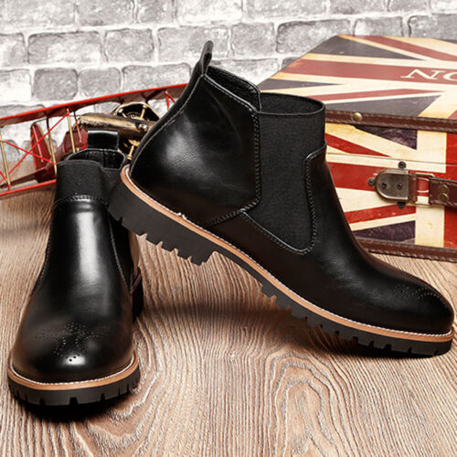 Chukka Chelsea Mens High Top Ankle Boots PU Leather Pull On Shoes Oxfords Size
