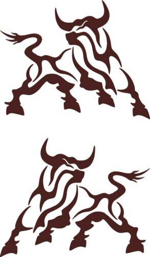 Bull Car Decals Vinyl Sticker Tribal Cow JDM Auto Bumper Window Buffalo Truck 2x