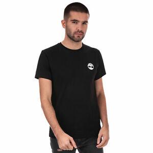 Para-hombre-Timberland-Core-camiseta-el-logotipo-en-la-espalda-en-Negro-Manga-Corta-Cuello-Acanalado