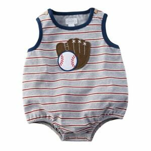 Mud Pie Baby Boy Baseball Bubble One Piece Outfit Size 9 ...