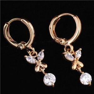 Filled-Zircon-Crystal-18k-Gold-Plated-Hoop-Earrings-Butterfly-Dangle-Drop