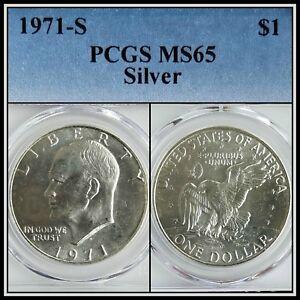 1971-S-Silver-1-Eisenhower-Ike-Dollar-PCGS-MS65-BU-Uncirculated-Unc-Gem-Coin