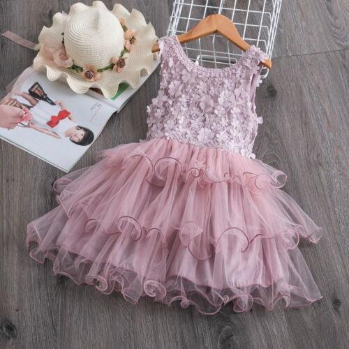 Kids Baby Girls Princess Dress Wedding Bridesmaid Pageant Party Tutu Skirt 1-6Y