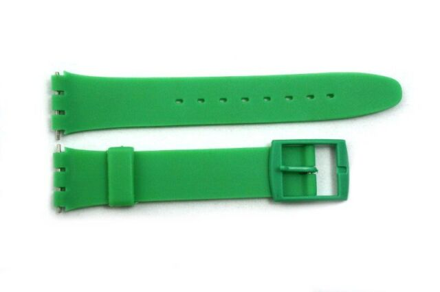 17mm Green Soft PVC Replacement Watch Band Strap fits SWATCH watches/ 2 pins