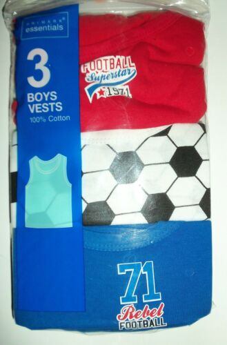 White and Blue Baby Boys 3 Pack Football detail Vests in Red