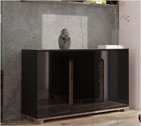 Lorenz High Gloss Black Sideboard 2 Door 4 Drawer Lounge Storage Chest Dresser