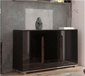 Image Is Loading Lorenz High Gloss Black Sideboard 2 Door 4